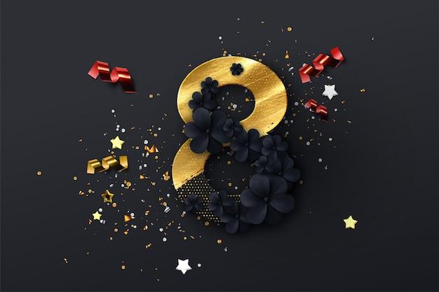 3月8日。国際女性の日。春の休日の図。黒い花の花輪、金色の塗料、光る紙切り抜き番号8