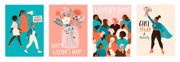 幸せな女性の日。 3月8日のお祝いのモダンなお祝いイラスト。
