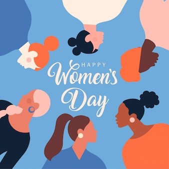 3月8日のお祝いのモダンなお祝いイラスト。国際婦人デー。