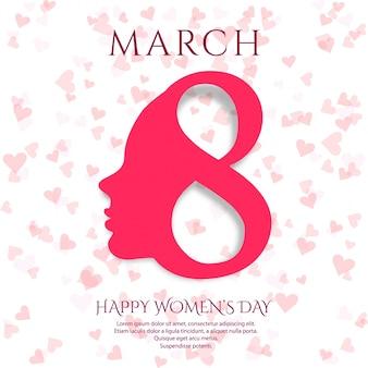 3月8日のグリーティングカード。国際女性の日のデザインの背景