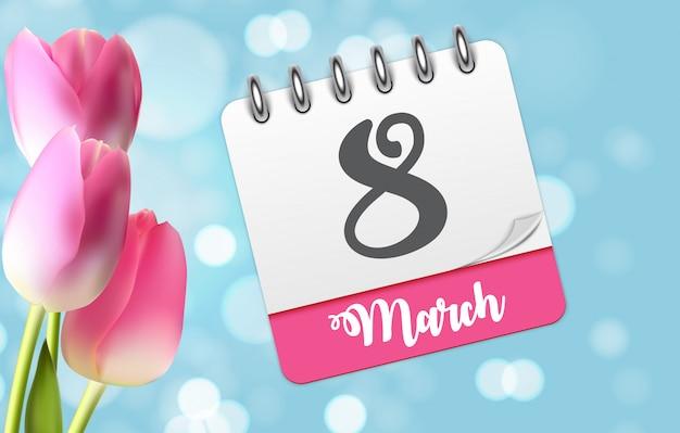 ポスター国際ハッピー女性の日3月8日花のグリーティンググリーティングカード