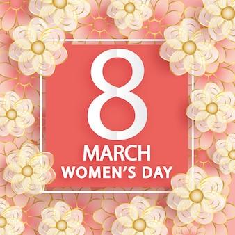 3月8日。女性の日グリーティングカード。折り紙フローラル。