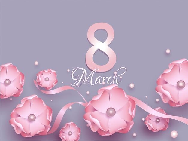 ピンクの紙の花で飾られた3月8日のグリーティングカードデザイン、