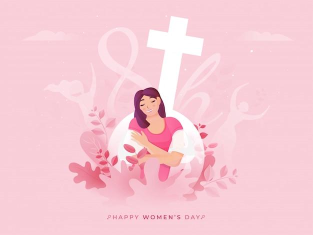 3月8日、幸せな女性の日のための水性記号でピンクの自然ビューの背景に座っている幸せの若い女性。