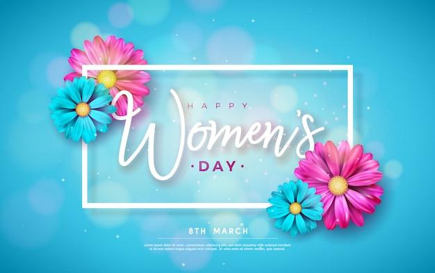 3月8日。幸せな女性の日花グリーティングカード。