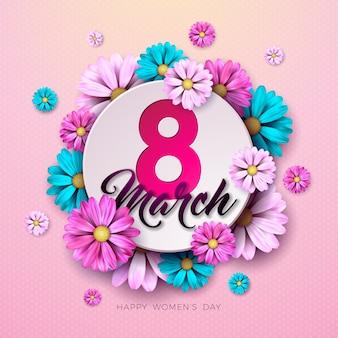 3月8日。幸せな女性の日の花のグリーティングカード。