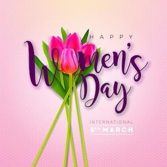3月8日。チューリップの花を持つ女性の日グリーティングカードデザイン。