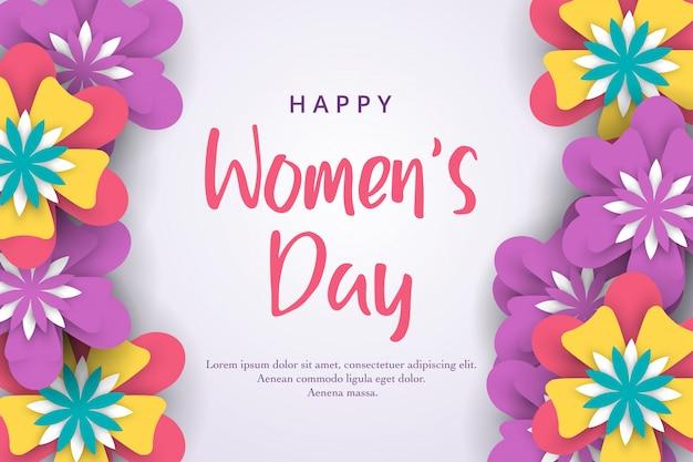 3月8日。カラフルな紙の花で国際的な幸せな女性の日