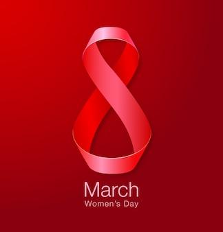 3月8日-女性の日紙グリーティングカードテンプレートのデザイン。