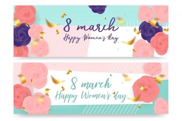 3月8日の幸せな女性の日のための紙切りデザイン