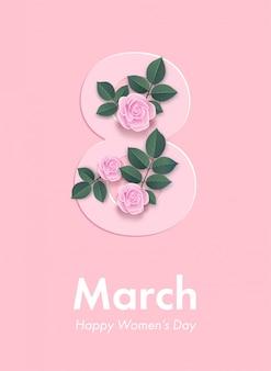 ピンクのバラの装飾が施された3月8日のチラシ。