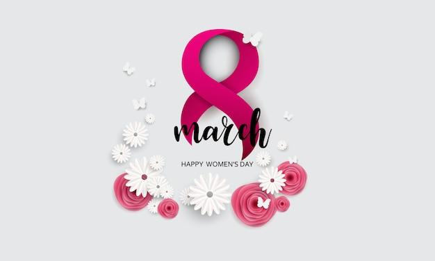 3月8日。母の日おめでとう。紙カット蝶と花の休日の背景