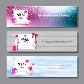 国際女性の日ホリデーセールポスターとパーティー招待状デザインの水平方向のバナーセット3月8日コンセプト