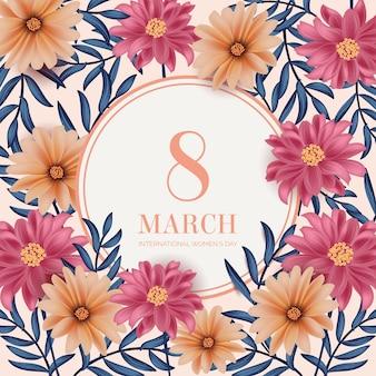 リアルな女性の日の色とりどりの花と3月8日