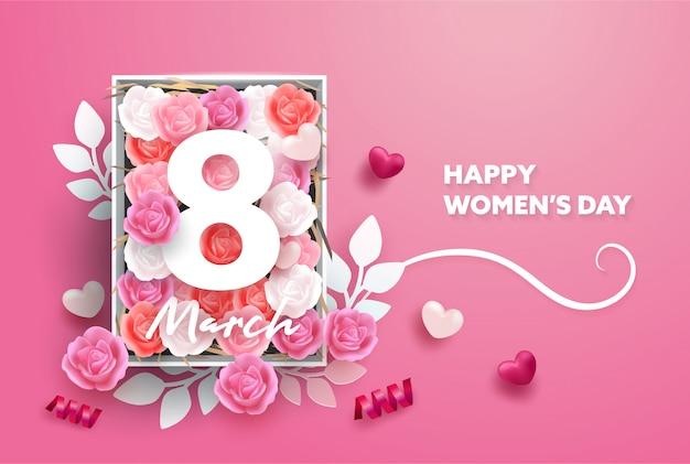 3月8日の背景。国際幸せな女性の日。現実的な心とバラの花と紙のスタイル。