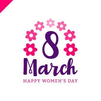 3月8日幸せな女性の日レター挨拶カード花。