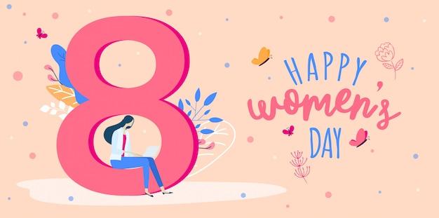 3月8日の幸せな女性の日花バナー