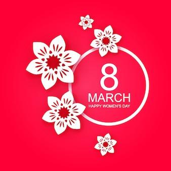3月8日、母の日のハッピーカード。白い紙はピンクの背景に花を切ります。