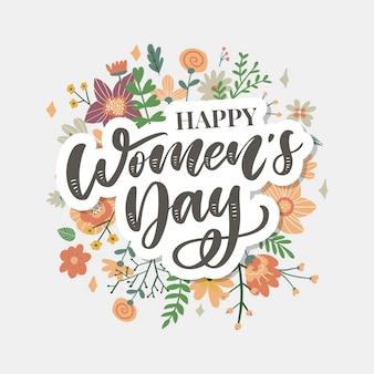 3月8日線形花の花輪との幸せな女性の日お祝いカード
