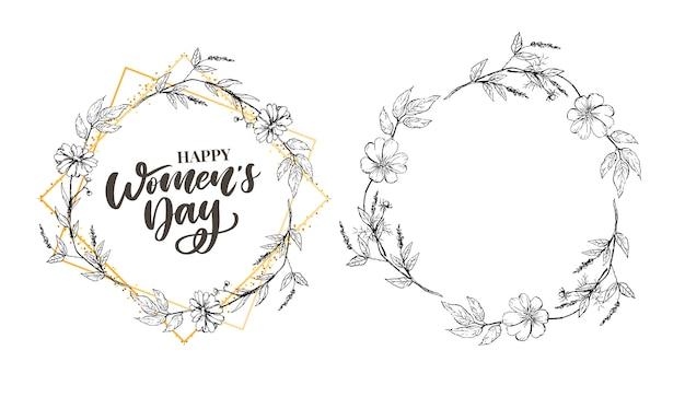 3月8日線形花の花輪を持つ幸せな女性の日ベクトルお祝いカード
