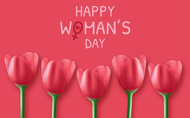 3月8日の花を持つ国際女性の日の背景。