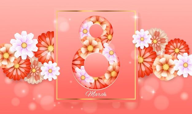 フレーム付き3月8日。女性の日カード