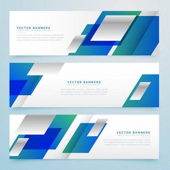 3 banners with blue geometric shapes