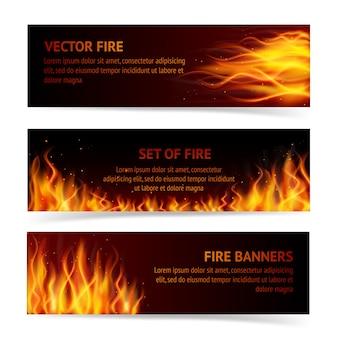3 баннера с огнем