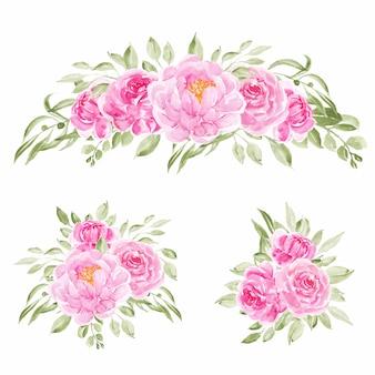 ピンクの水彩牡丹の花の3つの花束