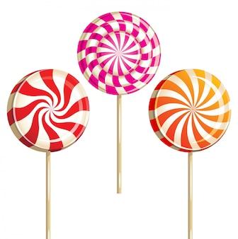 3 bright colorful lollipops