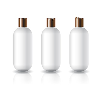 3 cap styles copper color white oval round cosmetic bottle for beauty product   template.