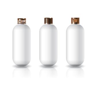 3 캡 스타일 구리 색상 흰색 타원형 원형 화장품 병 미용 제품 템플릿.