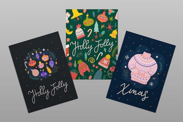 3 christmas greeting cards