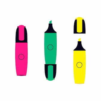 白い背景セットで分離された蛍光ペン効果を持つ3つの古典的なマーカー