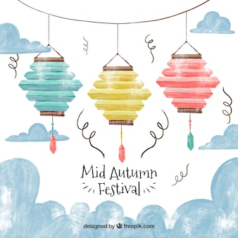 3 colorful lanterns, mid autumn festival