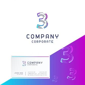 3 company logo design vector