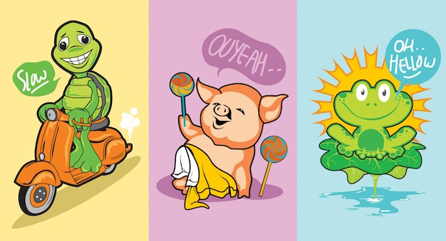 3 cute animal character turtle, pig and frog