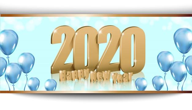 ゴールド3 d文字で幸せな新年2020光沢のある背景