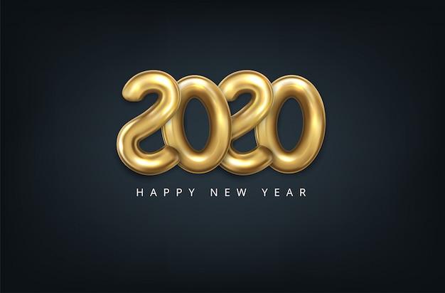 ゴールドカラーの3 dスタイルのベクトル現実的な2020風船。グリーティングカードのデザイン