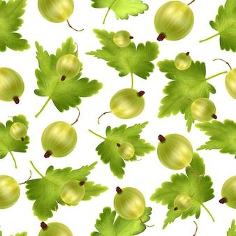 3 dリアルなグリーングーズベリーの美しいシームレスパターン。 3 dメッシュグリーングーズベリーとのシームレスなパターン。
