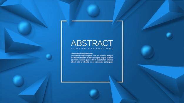 3 dのボールと3 dの三角形のイラストと抽象的な背景。