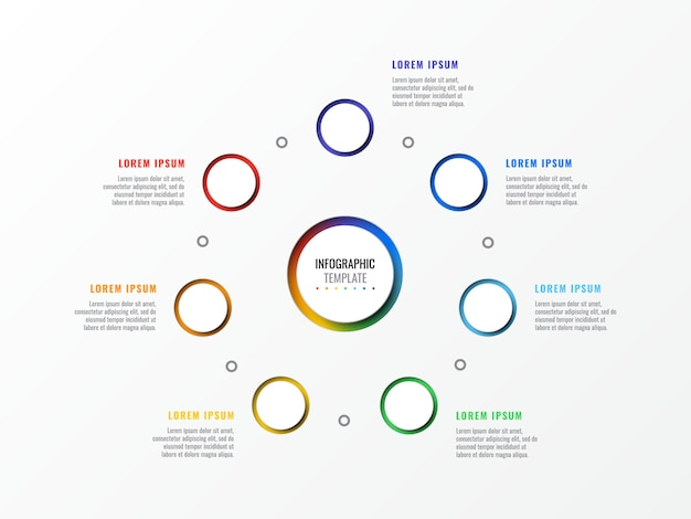 ラウンド3 dの現実的な要素を持つ7つのステップデザインレイアウトインフォグラフィックテンプレート