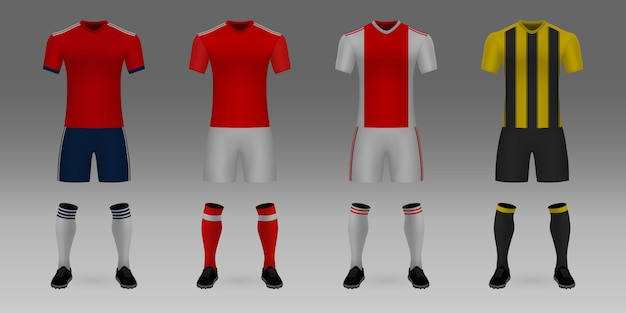 3 dリアルテンプレートサッカージャージバイエルン、ベンフィカ、ajax、aekのセット。