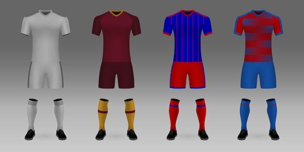 3 dのリアルなテンプレートサッカージャージレアルマドリード、ローマ、cska、ビクトリアのセット。