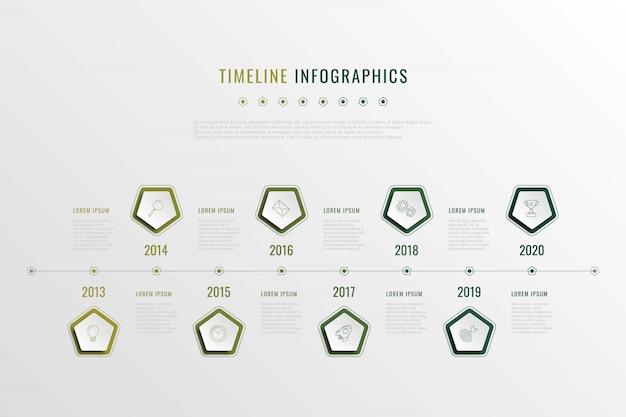 五角形の要素、年の表示、およびマークのアイコンによる現代の企業の歴史の可視化。現実的な3 dビジネスデータインフォグラフィック。ベクトル会社プレゼンテーションスライドテンプレート。 eps 10