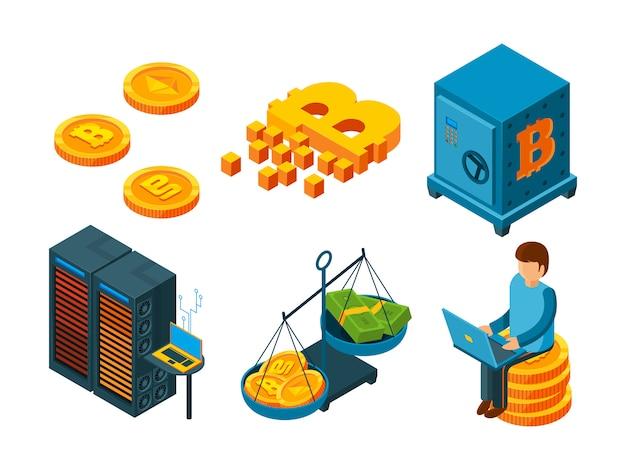 暗号通貨の3 dアイコン。ビジネスicoブロックチェーンコンピューターテクノロジーマイニングマネービットコイングローバルファイナンス等尺性