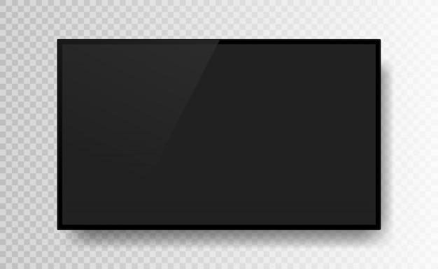 透明な背景に分離された現実的な黒いテレビ画面。 3 dの空白のテレビledモニター。