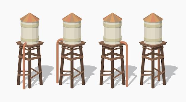 3 d lowpoly等尺性の古い給水塔