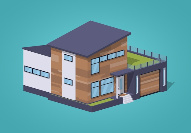 3 d lowpoly等尺性現代的なアメリカの家