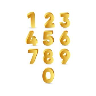 3 d number gold label template design illustration
